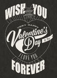Happy Valentine's Day lettering in vintage styled design. Royalty Free Stock Image