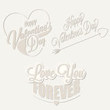 Happy Valentine's Day lettering in vintage styled design. Royalty Free Stock Images