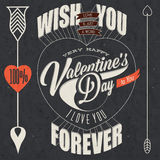 Happy Valentine's Day lettering in vintage styled design royalty free illustration