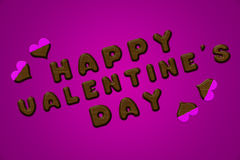Happy valentine's day letters chocolate pink Royalty Free Stock Photos