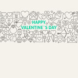 Happy Valentine's Day Line Art Icons Seamless Web Banner Royalty Free Stock Image