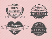Happy Valentine's Day logo and labels set. Royalty Free Stock Photos