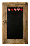 Happy Valentine's Day Love Chalkboard Restaurant Menu Board Recl. Aimed pallet wooden frame and hearts, isolated on white with copy space Royalty Free Stock Images