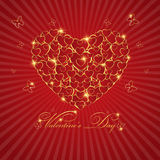 Happy valentine's day love Greeting Card  With Gold  Heart on Re Royalty Free Stock Image