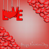 Happy Valentine`s Day, love hanging on a ropes and hearts. Happy Valentine`s Day. Red inscription love and heart hanging on a ropes on a red background Royalty Free Stock Images