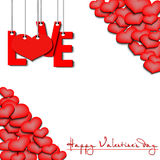 Happy Valentine`s Day, love hanging on a ropes and hearts. Happy Valentine`s Day. Red inscription love and heart hanging on a ropes on a white background Royalty Free Stock Photography