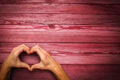 Heart in hands on  day in love. A happy valentine`s day in love and heart hands stock photos