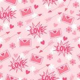 Happy Valentine`s Day. Love. Vector background with arrow, hearts, flowers and letter. Lovely seamless pattern Stock Photo
