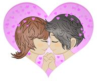 Loving couple in the heart frame. Happy Valentine`s Day. Loving man and woman touching noses outdoors. Profile of couple nose to vector illustration
