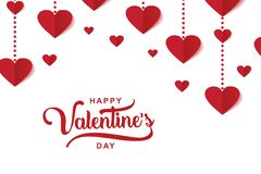 Valentine's day luxury elegant design with heart decoration. Happy Valentine's day luxury elegant design with heart decoration and typography lettering royalty free illustration