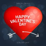 Happy valentine\'s day luxury greeting card red heart pierced by. White cupid\'s arrow in valentine Stock Photo