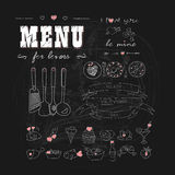 Happy Valentine's day. Menu for lovers. Foods with hearts. Doodle decor elements. Hand drawn. Chalkboard. Stock Image