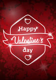 Happy Valentine's day message on red blurred background. Vintage retro vector background. Stock Photos