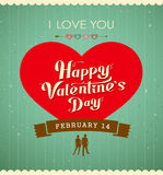 Happy Valentines day message, red heart Royalty Free Stock Image