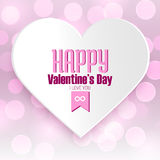 Happy Valentine's day message on white paper heart with pink bokeh background Royalty Free Stock Images