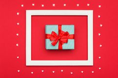 Free Happy Valentine`s Day, Mother`s Day, Women`s Day Or Birthday Background. Flat Lay With Beautifully Wrapped Present. Stock Photo - 109757310