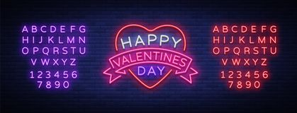 Happy Valentine s Day is a neon sign. Bright light banner, neon billboard, vivid advertising, brochure. Design a Stock Photography