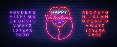 Happy Valentine s Day is a neon sign. Bright light banner, neon billboard, vivid advertising, brochure. Design a Stock Images