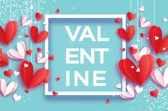 Happy Valentine`s day. Origami flying red, white hearts in paper cut style on sky blue. Square frame. Valentine Text Royalty Free Stock Images