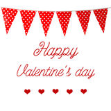 Happy valentine`s day over red bunting party flag with heart pat Royalty Free Stock Photography