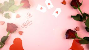 Happy Valentine`s Day overhead background with lens flare. royalty free stock photo