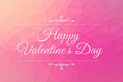 Happy Valentine's Day on pink background of low poly Royalty Free Stock Photo