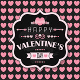 Happy Valentine's Day - on pink heart seamless pattern background Stock Photos