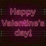 Happy Valentine`s day. The pink Neon sign on a brick wall. stock illustration