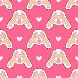 Happy Valentine`s Day. Pink pattern with hearts and hands. Royalty Free Stock Photography