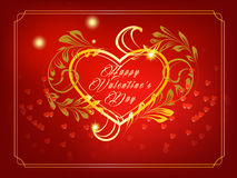Happy Valentine's Day post card. Bright shiny post card illustration for St. Valentine's Day wishes with heart shape framed with golden leaves Stock Photo