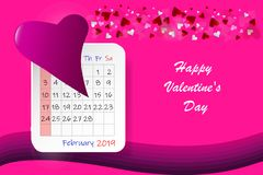 Happy Valentine`s Day postcard with calendar sheet royalty free stock photo