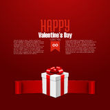 Happy Valentine's Day postcard with gift box,  Stock Photography