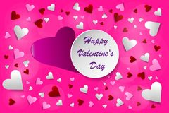 Happy Valentine`s Day postcard pink vector royalty free stock photo