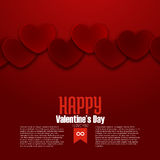 Happy Valentine's Day postcard, red hearts, vector Stock Photography