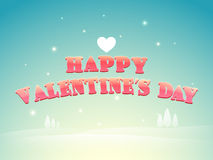 Happy Valentines Day poster or banner. Happy Valentines Day poster, banner or flyer with heart on shiny sky blue background Stock Images
