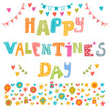 Happy Valentine's Day poster. Cute greeting card Stock Photography