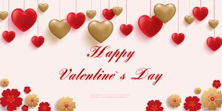 Happy Valentine s Day.Poster of valentine day in modern style. Happy saint valentine`s day background with decoration. Hearts and paper cut red and gold flowers Royalty Free Stock Photography
