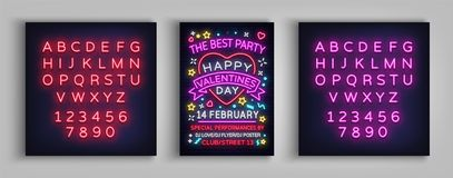 Happy Valentine`s Day poster party. Neon design template typography, neon sign, bright banner, nightlife nightclub. Advertising, card, flyer. Vector Stock Photos