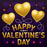 Happy Valentine's Day poster template with heart shaped balloons. Golden glitter style vector illustration Royalty Free Stock Photos