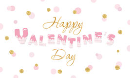 Happy Valentine s Day quote on glitter confetti polka dot background. Stock Images