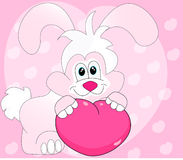 Happy Valentine's Day Rabbit Cartoon - Illustration Royalty Free Stock Photos