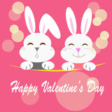 Happy valentine`s day rabbits Royalty Free Stock Images