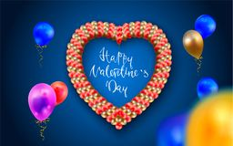 Happy Valentine s day. Realistic colorful of balloons flying for celebrations with confetti. Trendy Design element. Happy Valentine s day. Realistic colorful of Stock Images