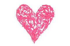 Happy Valentines Day! Red heart made of small pieces of paper Royalty Free Stock Photography