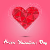 Happy valentine`s day and red heart polygon on pink background Stock Photos