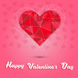 Happy valentine`s day and red heart polygon on pink heart background Royalty Free Stock Image