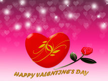 Happy Valentine's day with red heart and rose background Royalty Free Stock Photography