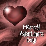 Happy Valentine`s Day red heart card stock image