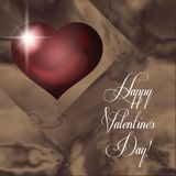 Happy Valentine`s Day red hearts against flowing background. stock photo