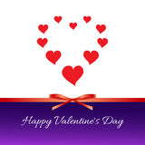 Happy Valentine`s Day. Red hearts, red bow, ribbon. On a white and blue background with a gradient Stock Photos